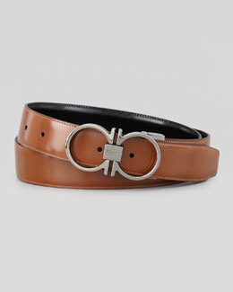 Salvatore Ferragamo Reversible Gancini-Embossed Belt, Brown