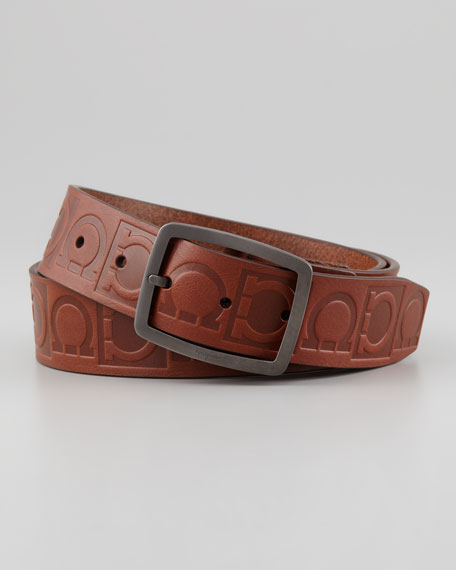 salvatore ferragamo leather logo engraved gancini belt brown