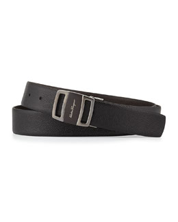 Salvatore Ferragamo Reversible Vara-Buckle Belt, Black/Brown