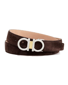 Salvatore Ferragamo Suede Two-Tone Gancini Belt, Brown