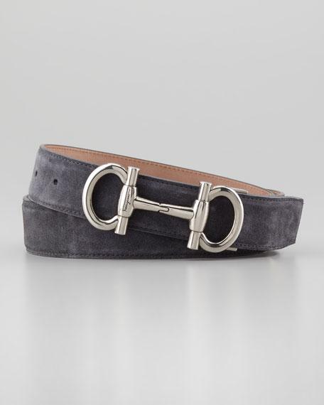 Suede Double Gancini Belt, Gray
