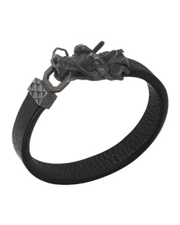John Hardy Naga Men's Dragon-Head Leather Bracelet, Black