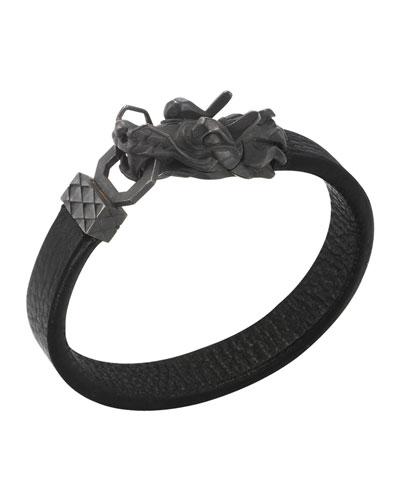 John Hardy Naga Men's Dragon-Head Leather Bracelet, Black