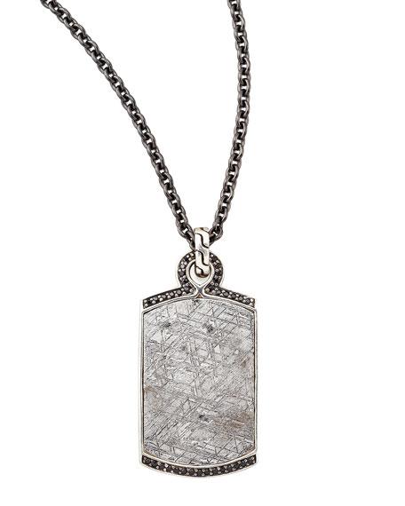 Batu Men's Meteorite & Black Sapphire Dog Tag Necklace