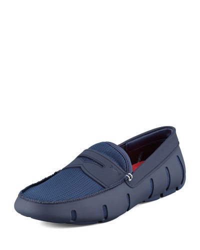 Mesh and Rubber Penny Loafer, Navy