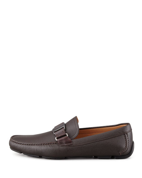 Sardegna Pebbled Leather Driver, Brown