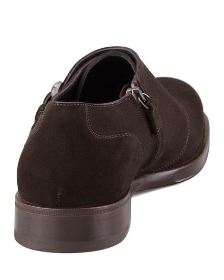 Savona Suede Monk Strap Shoe, Brown