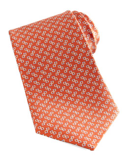 Salvatore Ferragamo Two-Gancini Silk Tie, Orange