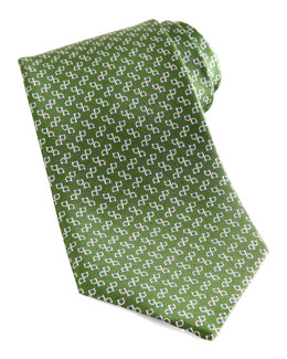 Salvatore Ferragamo Two-Gancini Silk Tie, Green