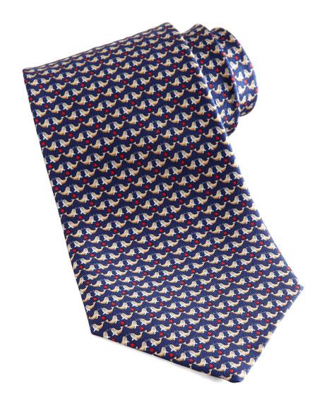 Seal-Print Silk Tie, Navy