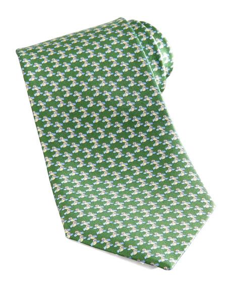Bird Silk Tie, Green
