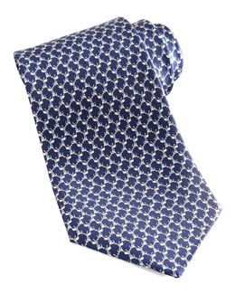 Salvatore Ferragamo Dog Silk Tie, Navy
