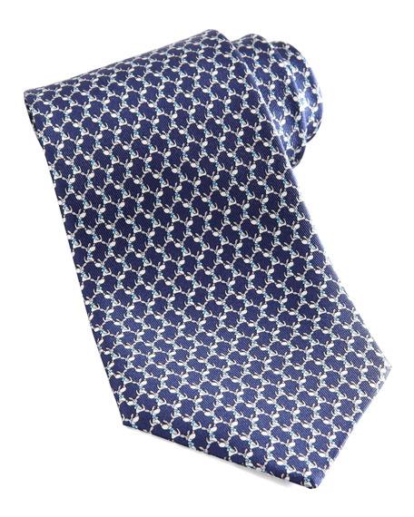 Dog Silk Tie, Navy