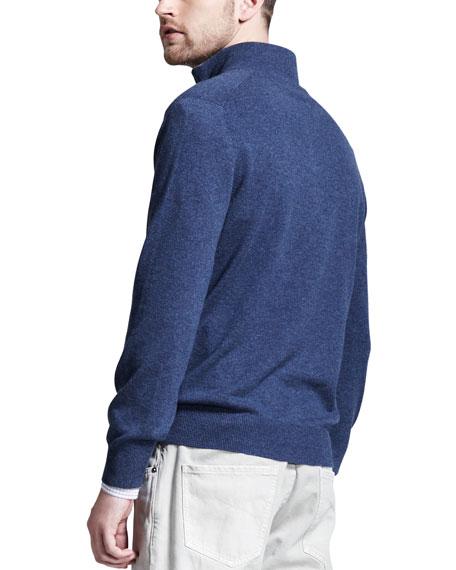Cashmere Half-Zip Sweater, Sapphire