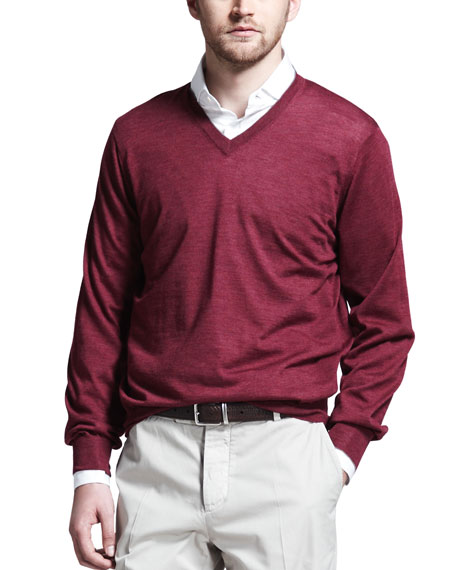 Fine-Gauge V-Neck Sweater, Maroon