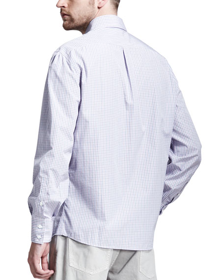 Check Spread-Collar Shirt, Purple/Blue
