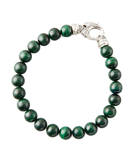 Beaded Malachite Bracelet, 8mm