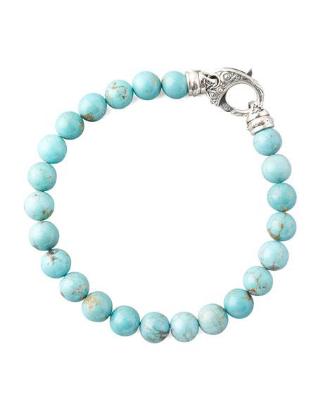 Beaded Turquoise Bracelet, 8mm