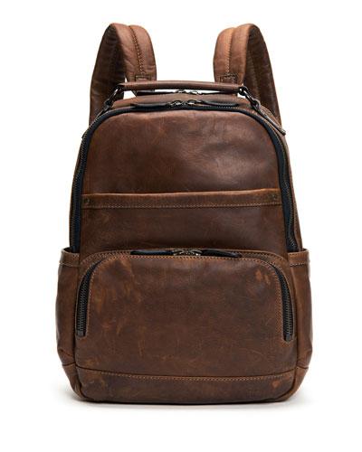Logan Men's Leather Backpack, Dark Brown