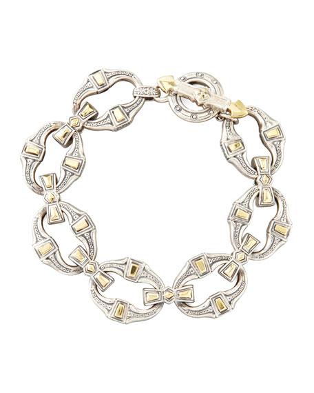 Men's Silver & Bronze Link Bracelet