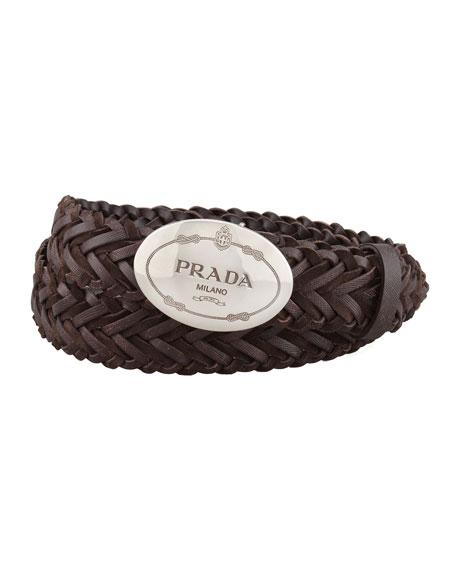 Woven Leather Logo Belt, Dark Brown