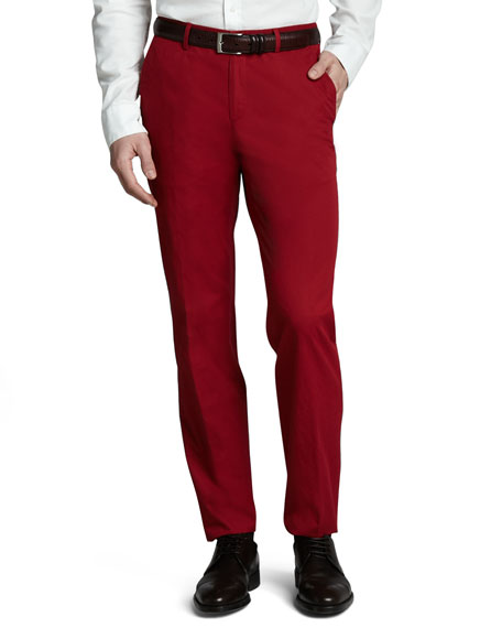 Washed Cotton Trousers, Red