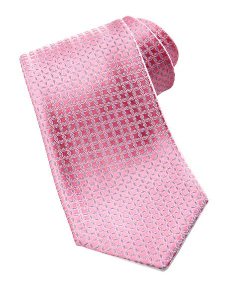 Neat Silk Tie, Pink/Blue