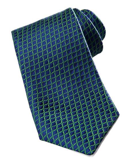 Diagonal-Neat Silk Tie, Blue/Green