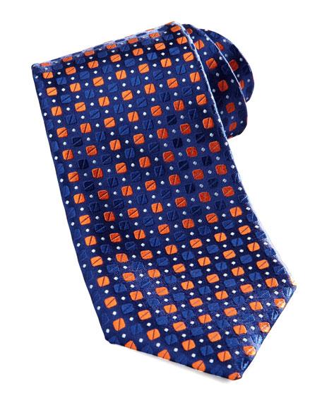 Bean-Pattern Silk Tie, Blue/Orange