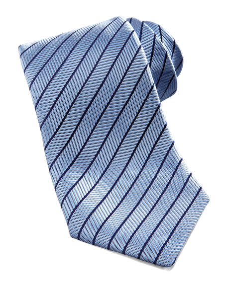 Neat-Stripe Silk Tie, Light Blue