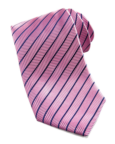 Neat-Stripe Silk Tie, Pink
