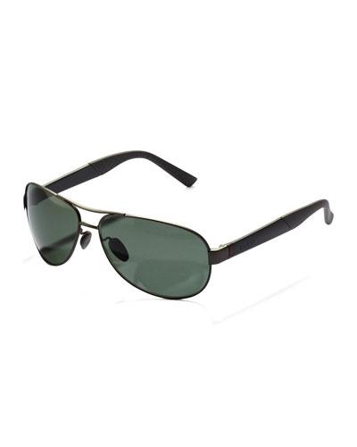 Gucci Metal Polarized Navigator Sunglasses, Ruthenium