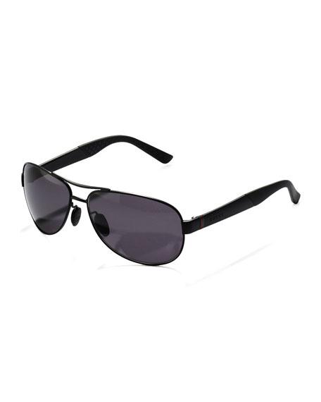Metal Polarized Navigator Sunglasses, Black