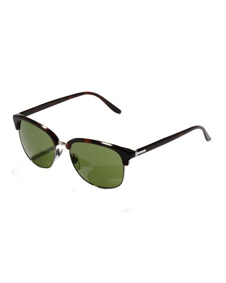 Half Frame Tortoise Shell Glasses : Gucci Plastic Half-Rim Sunglasses, Tortoise Shell