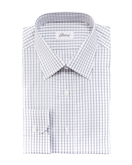 Check Dress Shirt, Gray/White