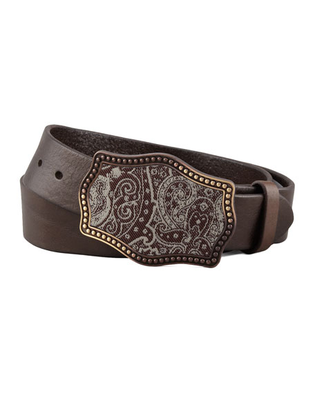 Paisley Tapestry Buckle Leather Belt, Brown