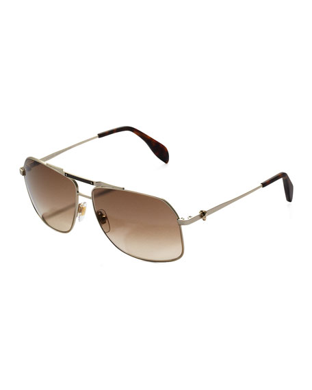Men's Skull Aviator Sunglasses, Silver