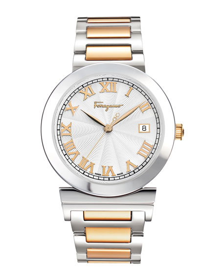 Two-Tone Guilloche-Dial Watch