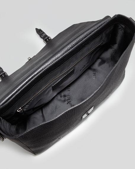 Leather Satchel Briefcase with Shoulder Strap, Black