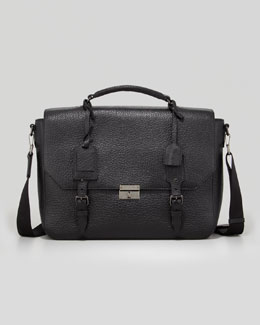 Leather Satchel Briefcase with Shoulder Strap, Black