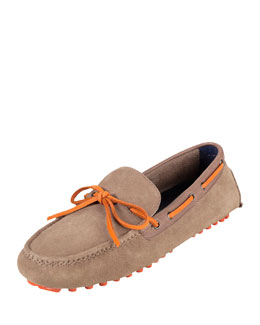 Cole Haan Air Grant Suede Tie Driver, Tan/Orange
