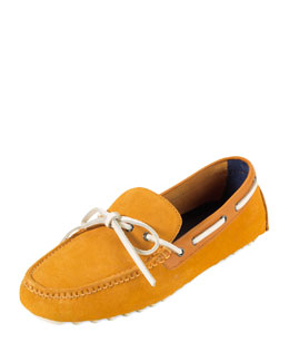 Cole Haan Air Grant Suede Tie Driver, Orange/White