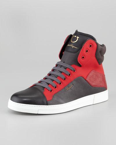 Salvatore Ferragamo Stephen Two-Tone Hi-Top Sneaker, Red/Burgundy