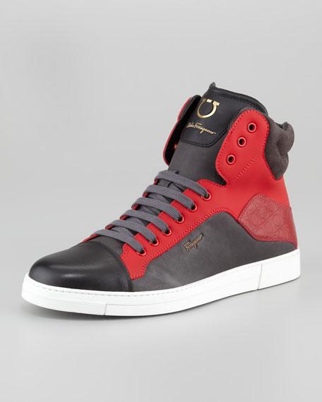 Stephen Two-Tone Hi-Top Sneaker, Red/Burgundy