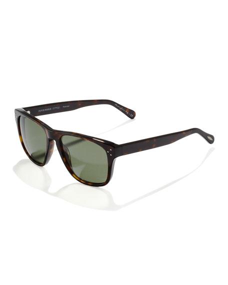 DBS Polarized Square Frame Sunglasses, Oak