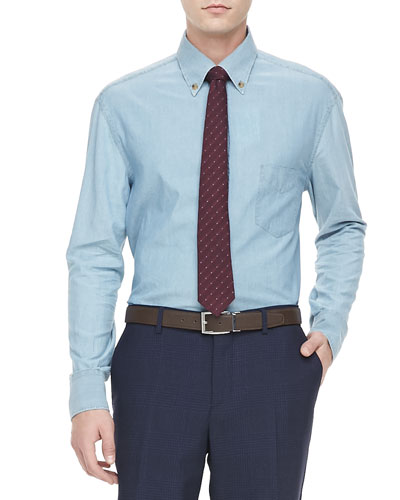 Brunello Cucinelli Chambray Button-Down Shirt, Blue