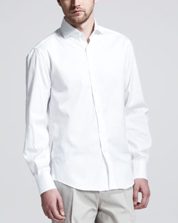 Brunello Cucinelli Button-Down Slim-Spread Collar Shirt, White