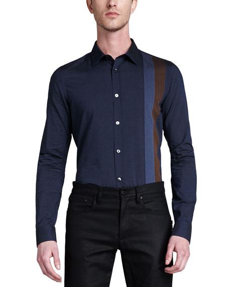Bradley Long-Sleeve Woven Striped Shirt, Navy