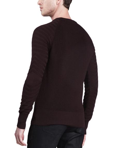 Crewneck Moto Sweater, Rose Wood
