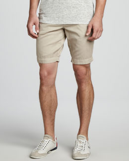 Vince Cotton-Linen Shorts, Tan